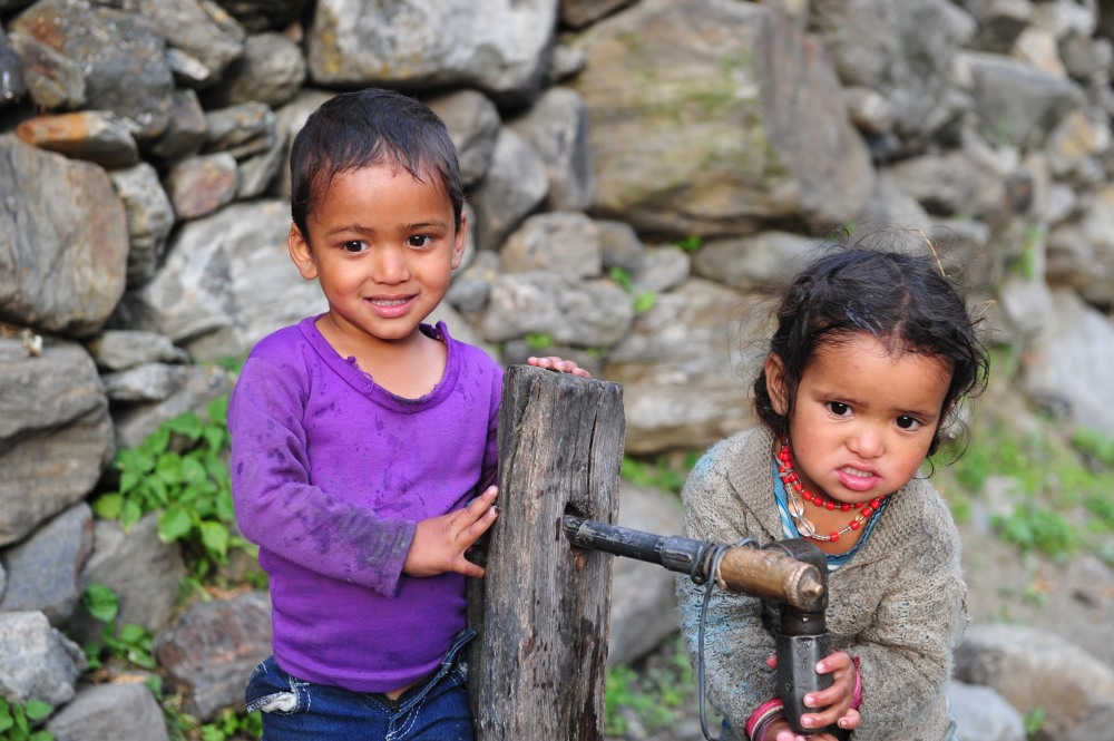Himalayan children in a village without power