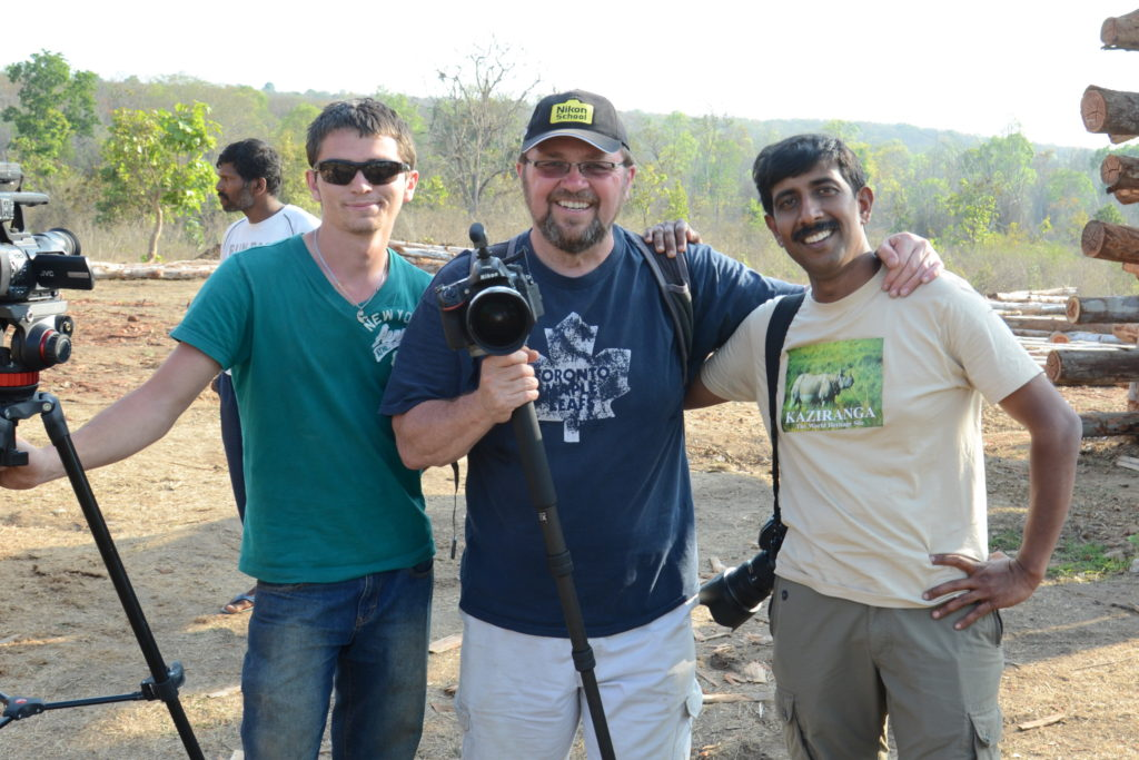 Austin Morris, Tom Grant and D.K. Bhaskar with cameras after a shoot in southern India.